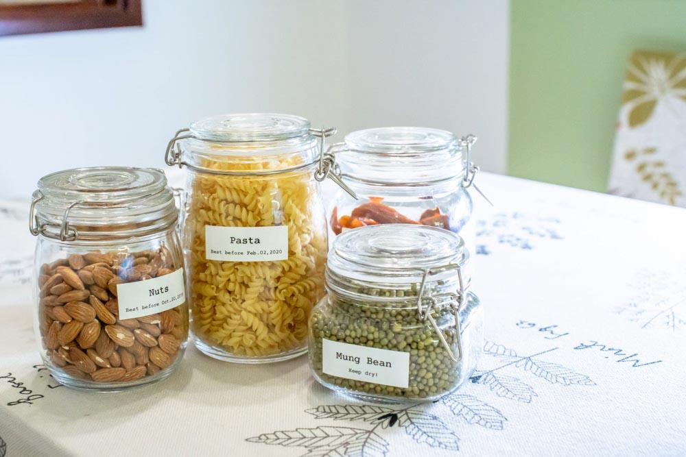 Etykiety na słoikach do przechowywania żywności