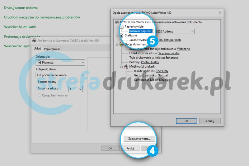 krok 4 i 5 ustawienia zaawansowane i format